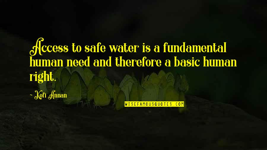 Human Right Quotes By Kofi Annan: Access to safe water is a fundamental human