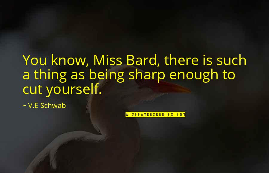 Humankind Evil Quotes By V.E Schwab: You know, Miss Bard, there is such a