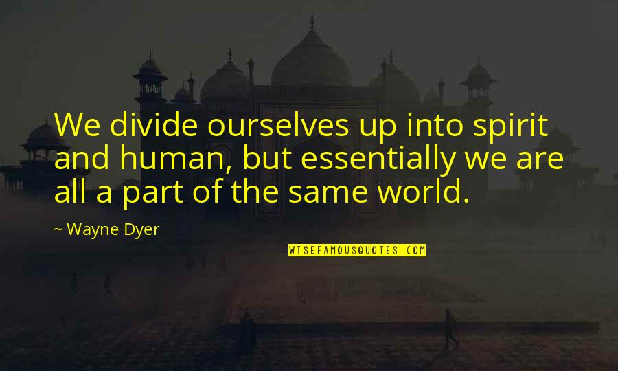 Humans And The World Quotes By Wayne Dyer: We divide ourselves up into spirit and human,