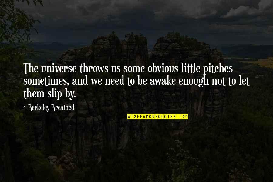 Humildade Quotes By Berkeley Breathed: The universe throws us some obvious little pitches
