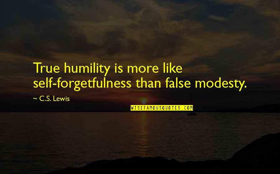 Humility Christian Quotes By C.S. Lewis: True humility is more like self-forgetfulness than false