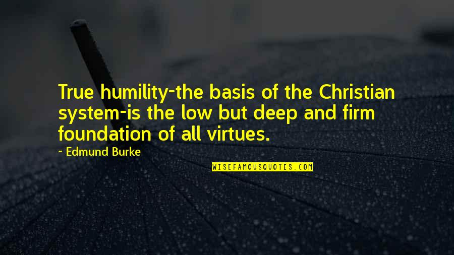 Humility Christian Quotes By Edmund Burke: True humility-the basis of the Christian system-is the