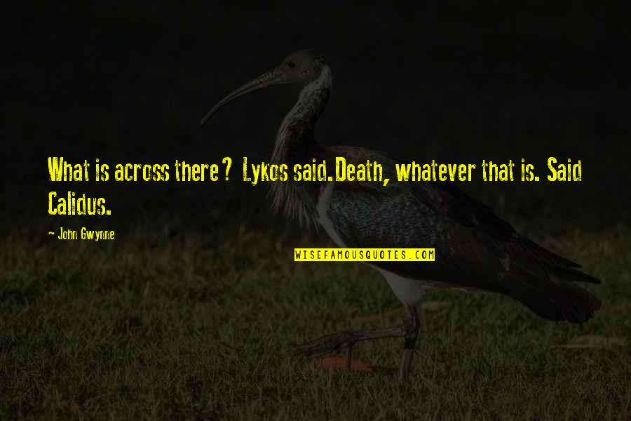 Hurt Feelings Of Love Quotes By John Gwynne: What is across there? Lykos said.Death, whatever that
