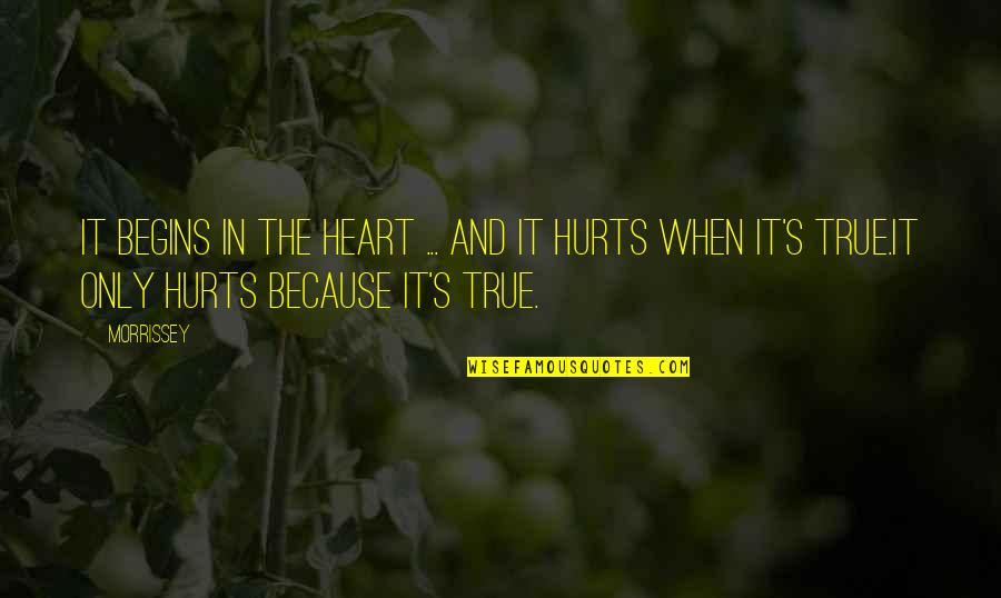 Hurts Heart Quotes By Morrissey: It begins in the heart ... and it