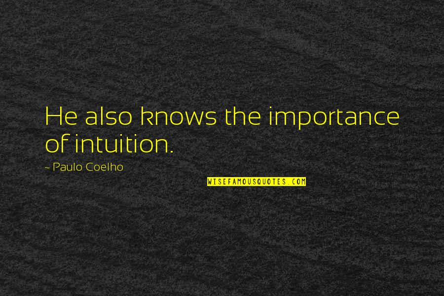Huzoor Sallallahu Alaihi Wasallam Quotes By Paulo Coelho: He also knows the importance of intuition.