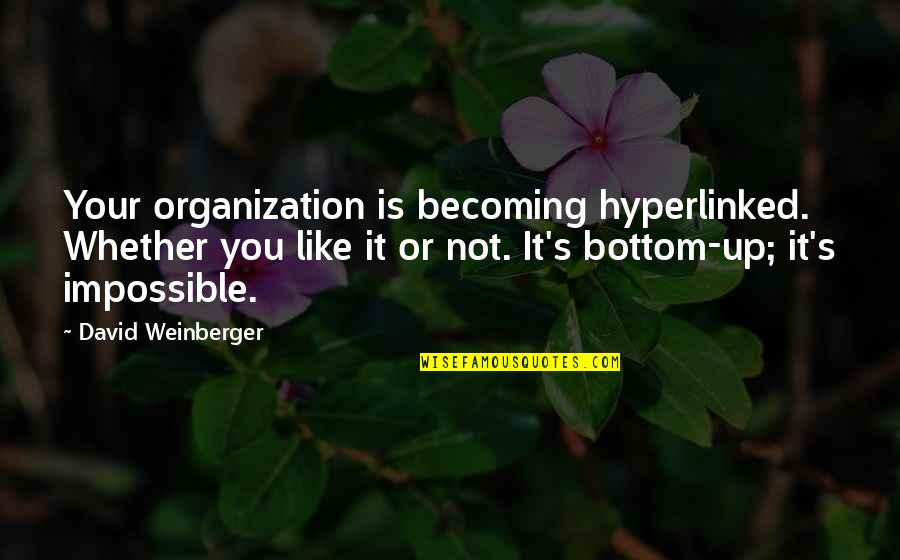Hyperlinked Quotes By David Weinberger: Your organization is becoming hyperlinked. Whether you like
