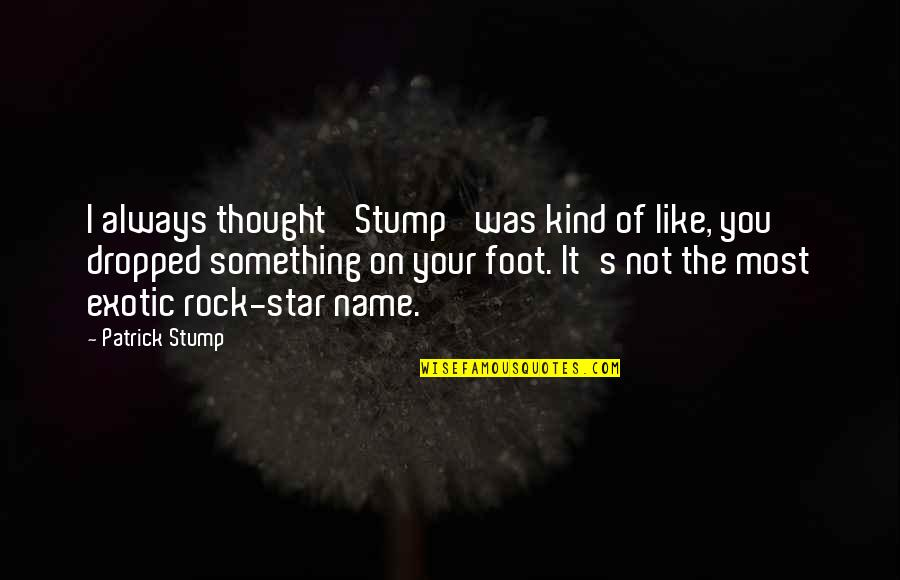 I Always Thought Quotes By Patrick Stump: I always thought 'Stump' was kind of like,