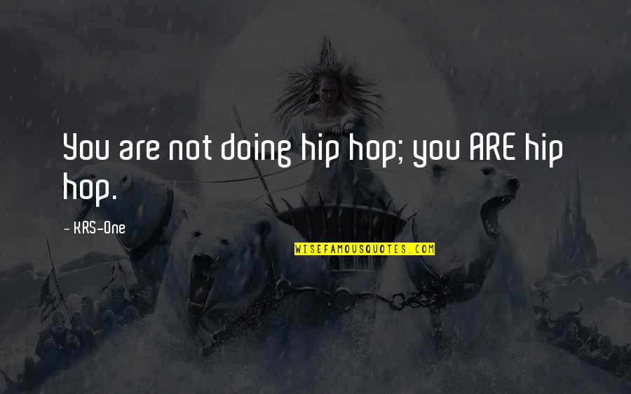 I Am A Hip Hop Dancer Quotes By KRS-One: You are not doing hip hop; you ARE