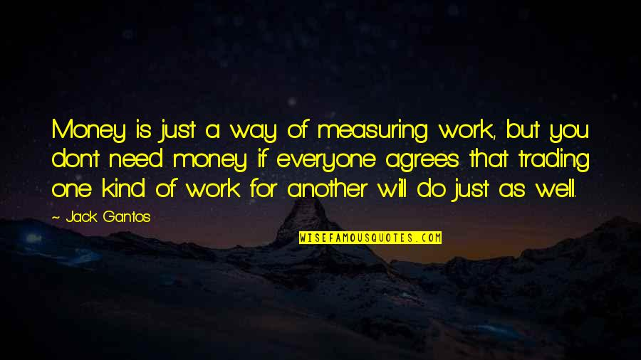 I Am Afraid Of Getting Hurt Quotes By Jack Gantos: Money is just a way of measuring work,