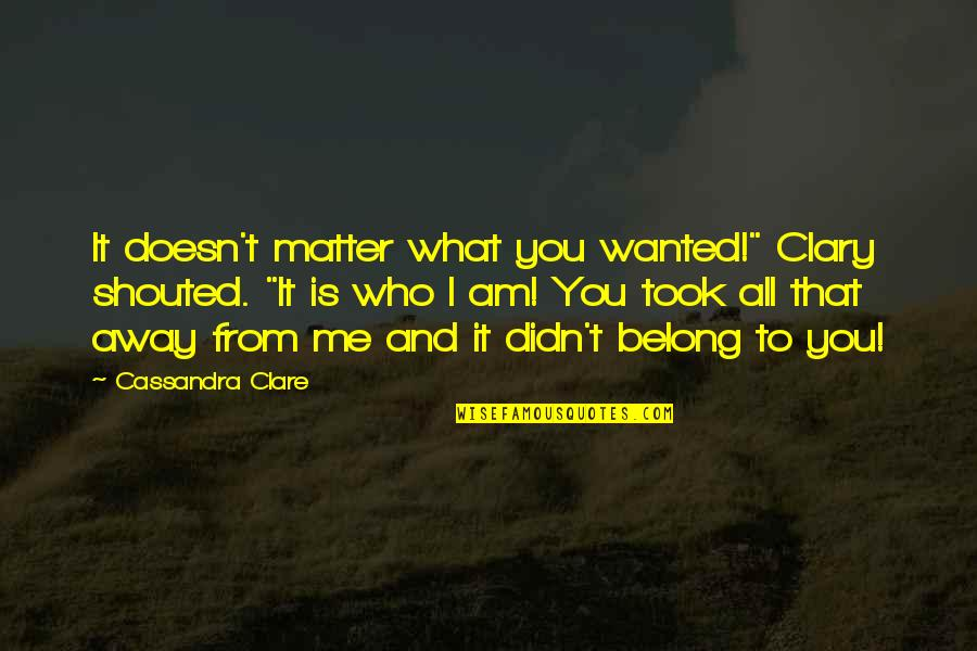 """I Am Belong To You Quotes By Cassandra Clare: It doesn't matter what you wanted!"""" Clary shouted."""