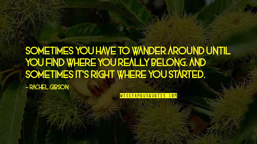 I Am Belong To You Quotes By Rachel Gibson: Sometimes you have to wander around until you