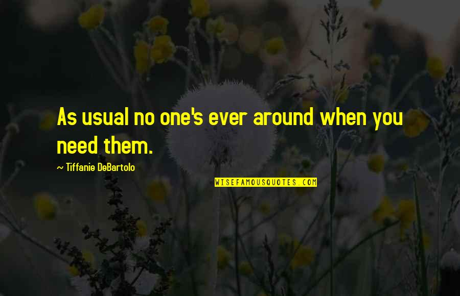 I Am Dying Every Second Quotes By Tiffanie DeBartolo: As usual no one's ever around when you