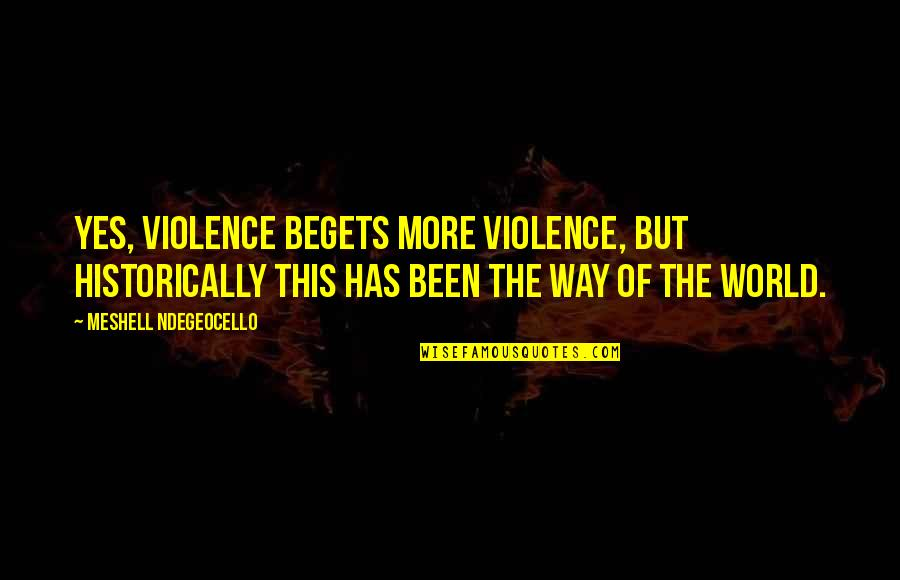 I Am Freaking Awesome Quotes By Meshell Ndegeocello: Yes, violence begets more violence, but historically this