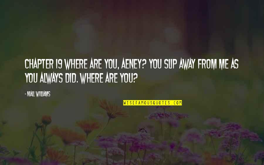 I Am Freaking Awesome Quotes By Niall Williams: Chapter 19 Where are you, Aeney? You slip