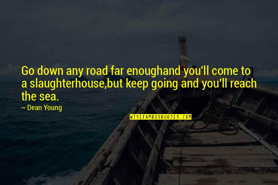 I Am Going Far Quotes By Dean Young: Go down any road far enoughand you'll come