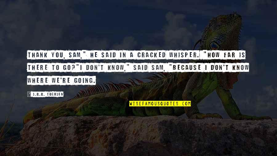"""I Am Going Far Quotes By J.R.R. Tolkien: Thank you, Sam,"""" he said in a cracked"""