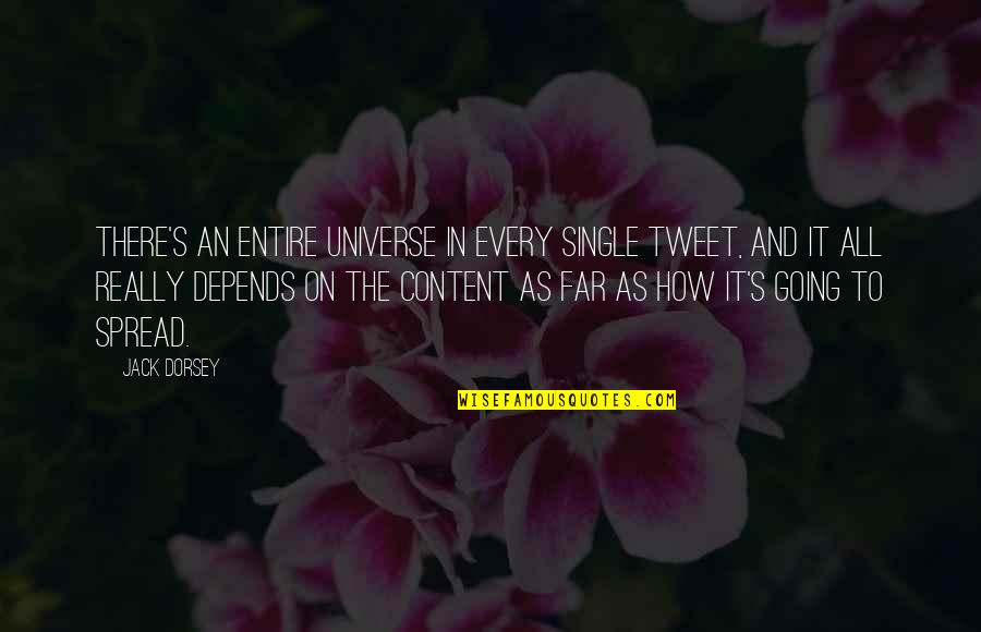 I Am Going Far Quotes By Jack Dorsey: There's an entire universe in every single tweet,