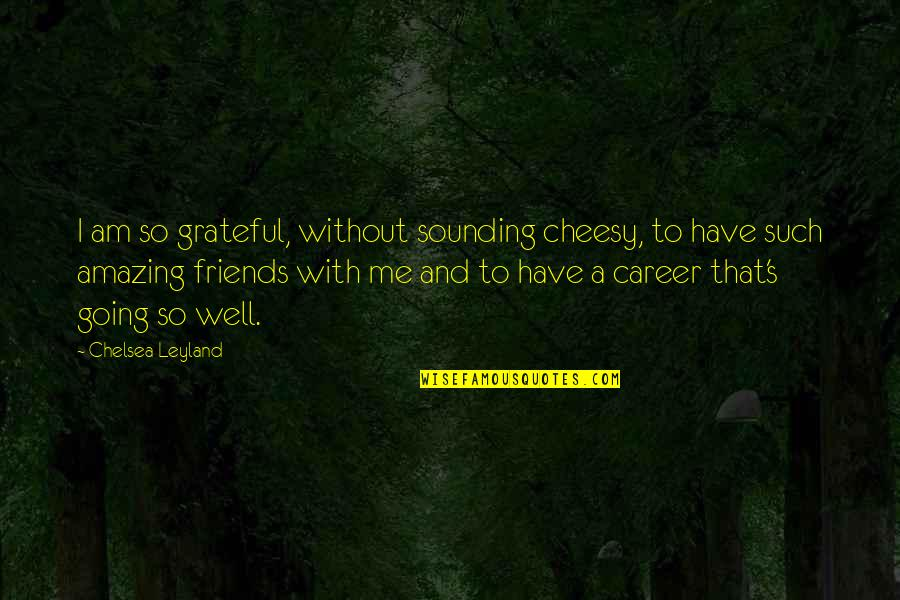 I Am Grateful To Have You Quotes By Chelsea Leyland: I am so grateful, without sounding cheesy, to