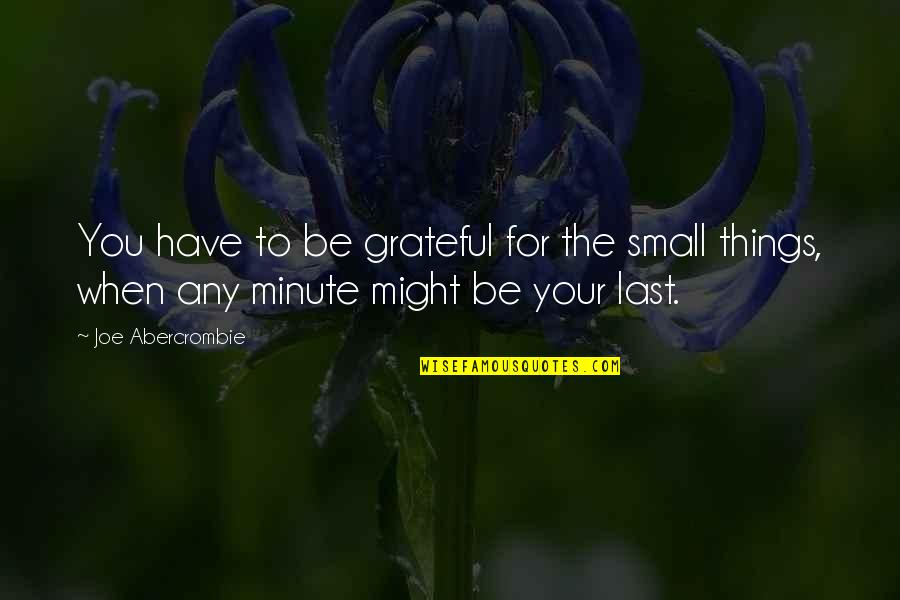 I Am Grateful To Have You Quotes By Joe Abercrombie: You have to be grateful for the small