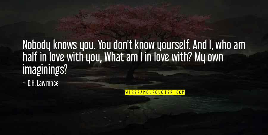 I Am In Love With You Quotes By D.H. Lawrence: Nobody knows you. You don't know yourself. And