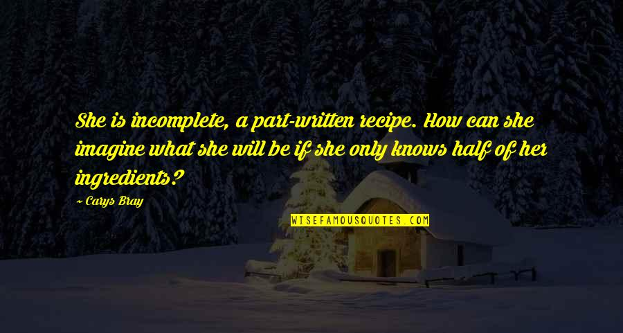 I Am Incomplete Quotes By Carys Bray: She is incomplete, a part-written recipe. How can