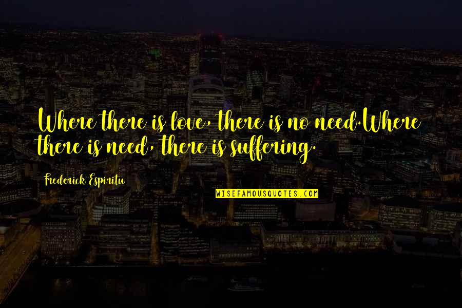 I Am Me And I Wont Change Quotes By Frederick Espiritu: Where there is love, there is no need.Where