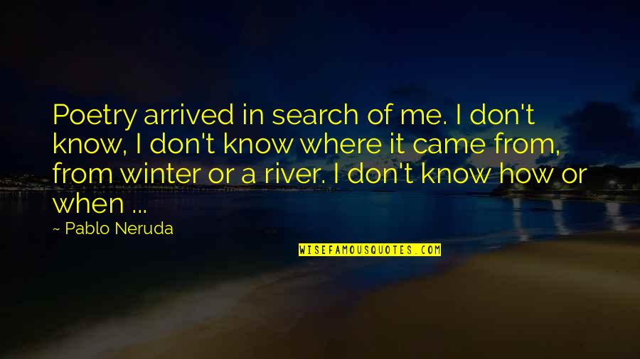 I Am Me Search Quotes By Pablo Neruda: Poetry arrived in search of me. I don't