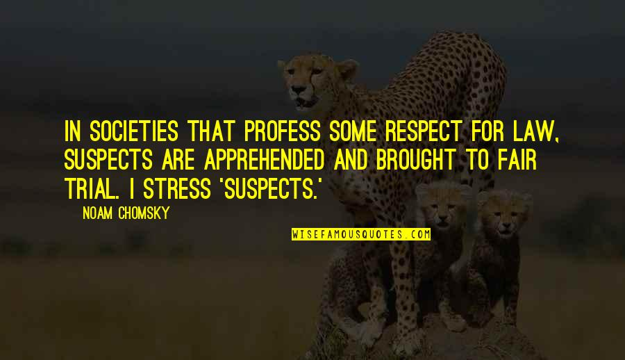 I Am Not Fair Quotes By Noam Chomsky: In societies that profess some respect for law,