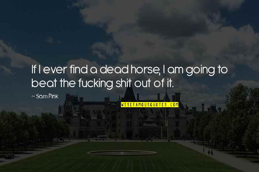 I Am Sam Quotes By Sam Pink: If I ever find a dead horse, I