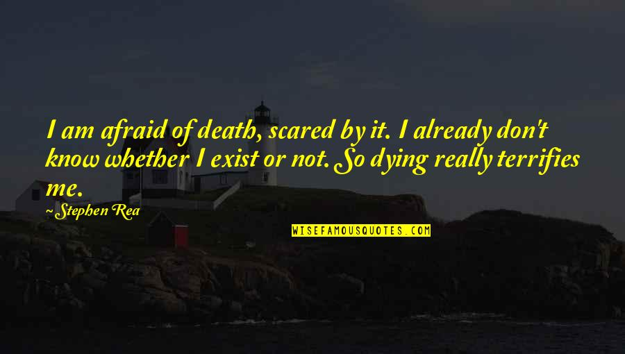 I Am Scared Quotes By Stephen Rea: I am afraid of death, scared by it.
