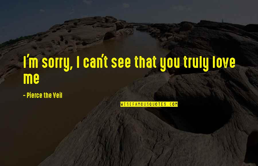 I Am Sorry Love Quotes By Pierce The Veil: I'm sorry, I can't see that you truly