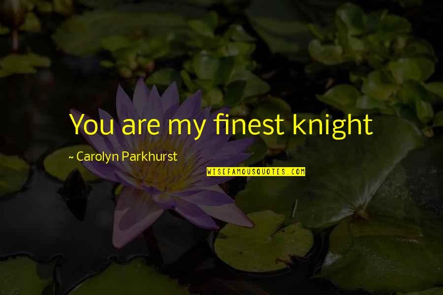 I Am Useless Person Quotes By Carolyn Parkhurst: You are my finest knight