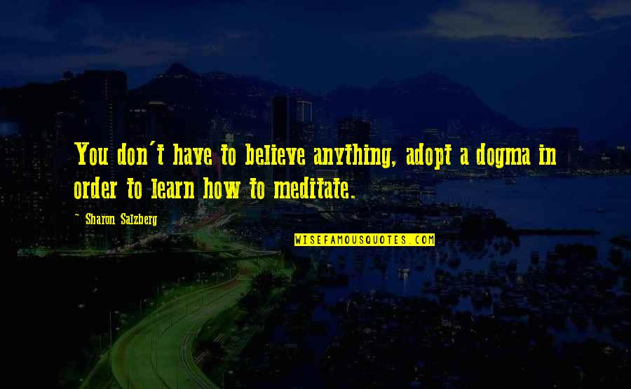 I Became Fool Quotes By Sharon Salzberg: You don't have to believe anything, adopt a