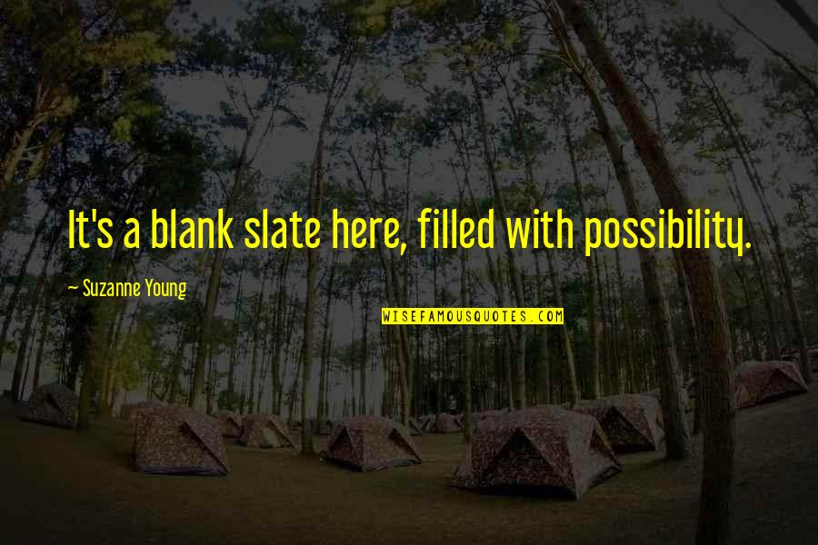 I Blank You Quotes By Suzanne Young: It's a blank slate here, filled with possibility.