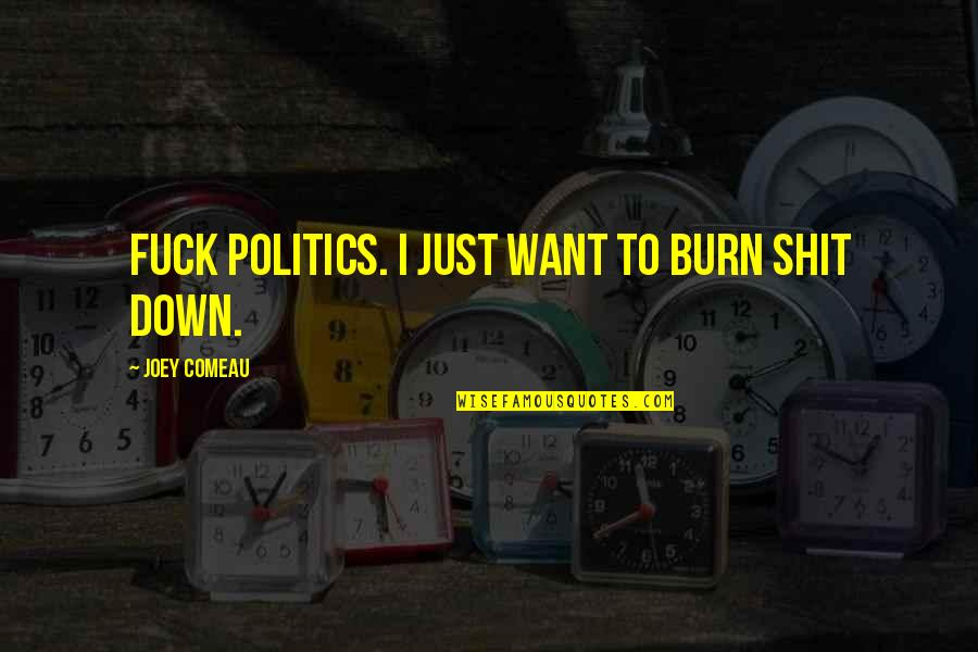 I Burn Quotes By Joey Comeau: Fuck politics. I just want to burn shit