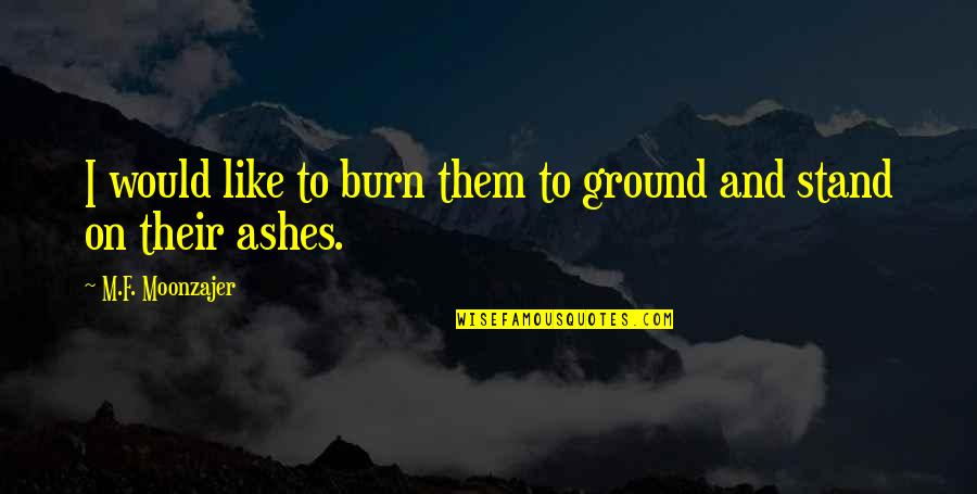 I Burn Quotes By M.F. Moonzajer: I would like to burn them to ground