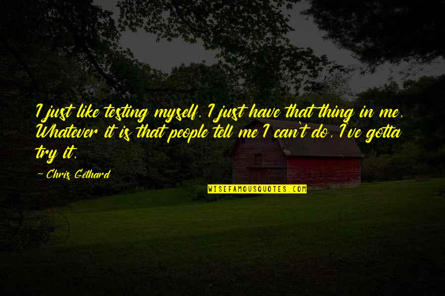 I Can Do It Quotes By Chris Gethard: I just like testing myself. I just have