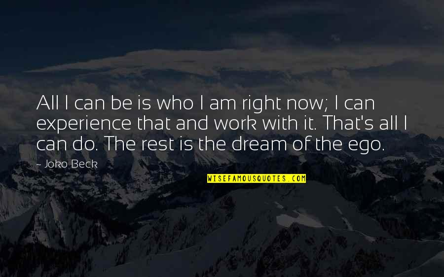 I Can Do It Quotes By Joko Beck: All I can be is who I am