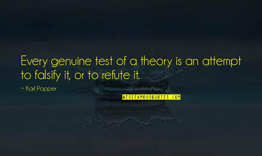 I Can Wait For Her Quotes By Karl Popper: Every genuine test of a theory is an
