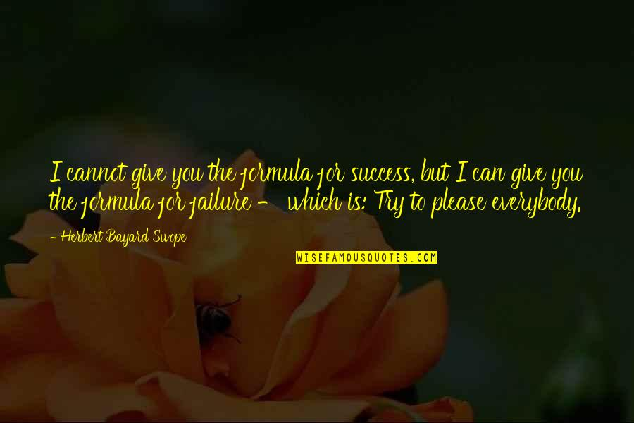 I Can't Be There For You Quotes By Herbert Bayard Swope: I cannot give you the formula for success,
