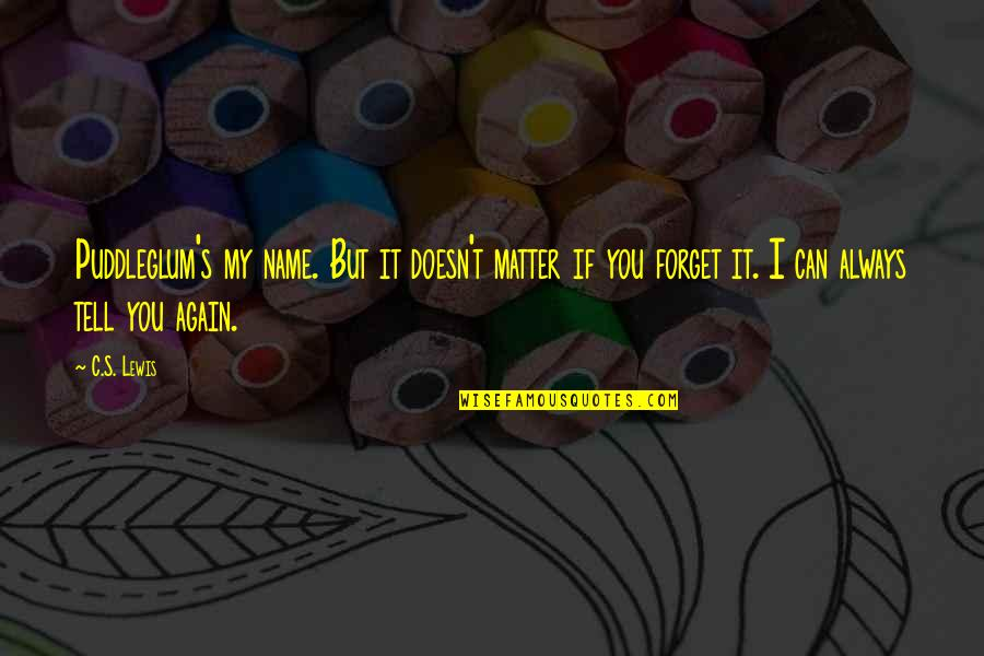 I Can't Forget You Quotes By C.S. Lewis: Puddleglum's my name. But it doesn't matter if