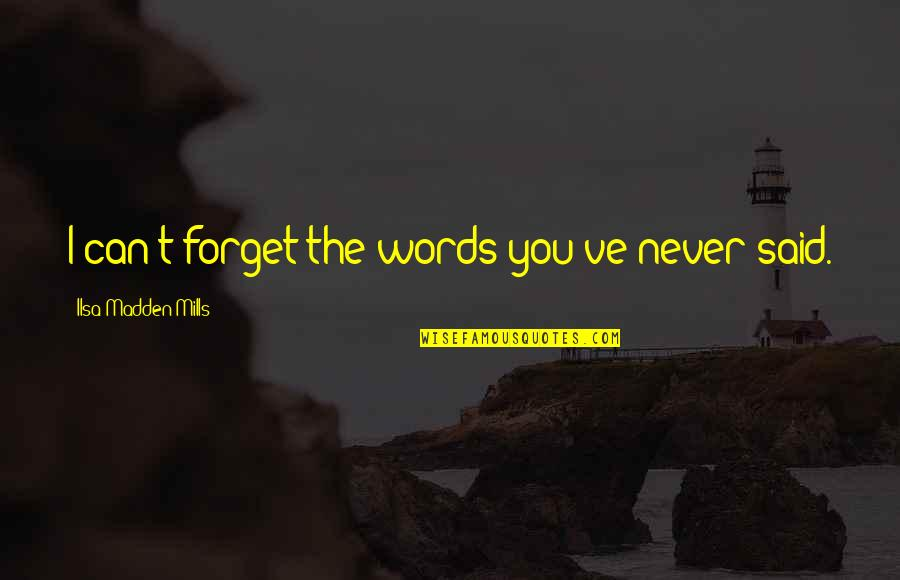 I Can't Forget You Quotes By Ilsa Madden-Mills: I can't forget the words you've never said.