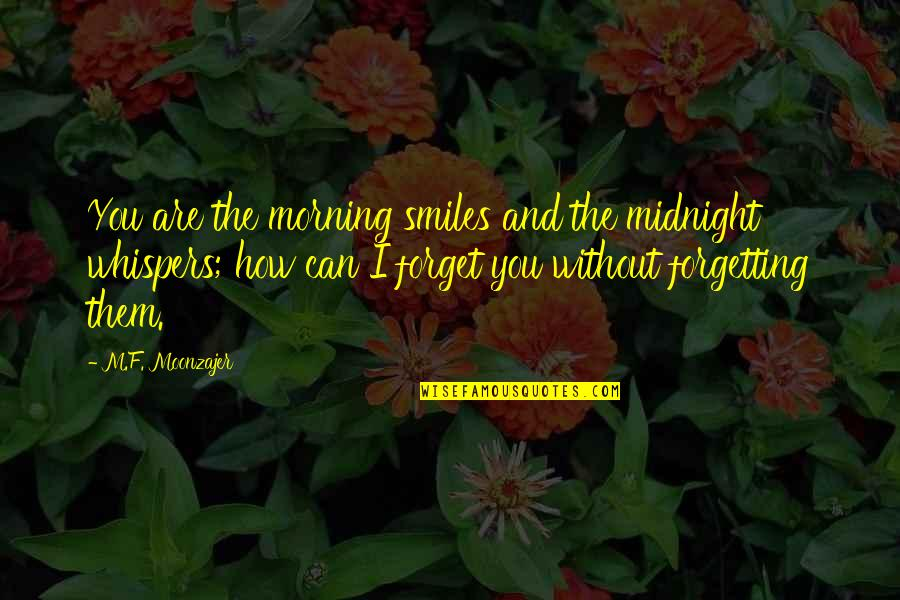I Can't Forget You Quotes By M.F. Moonzajer: You are the morning smiles and the midnight