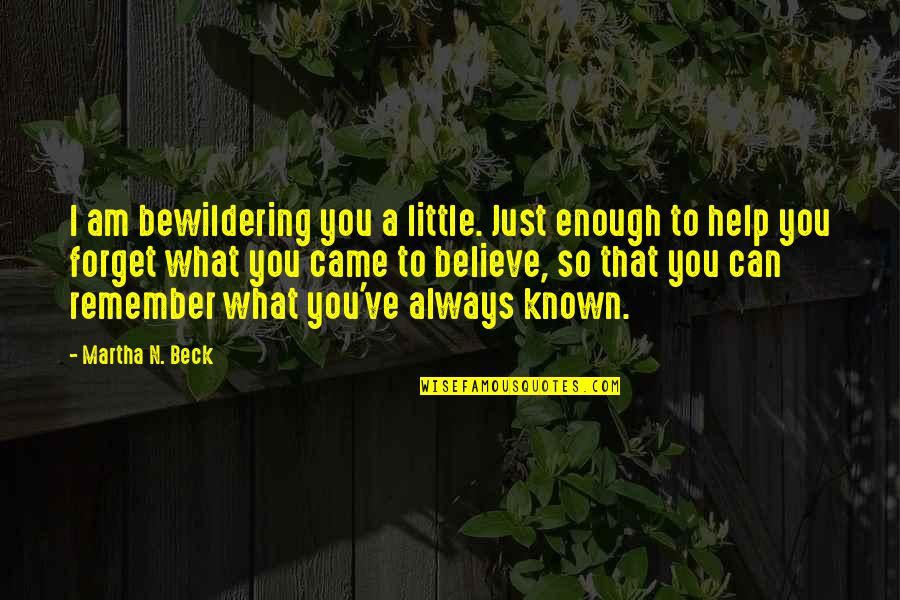 I Can't Forget You Quotes By Martha N. Beck: I am bewildering you a little. Just enough