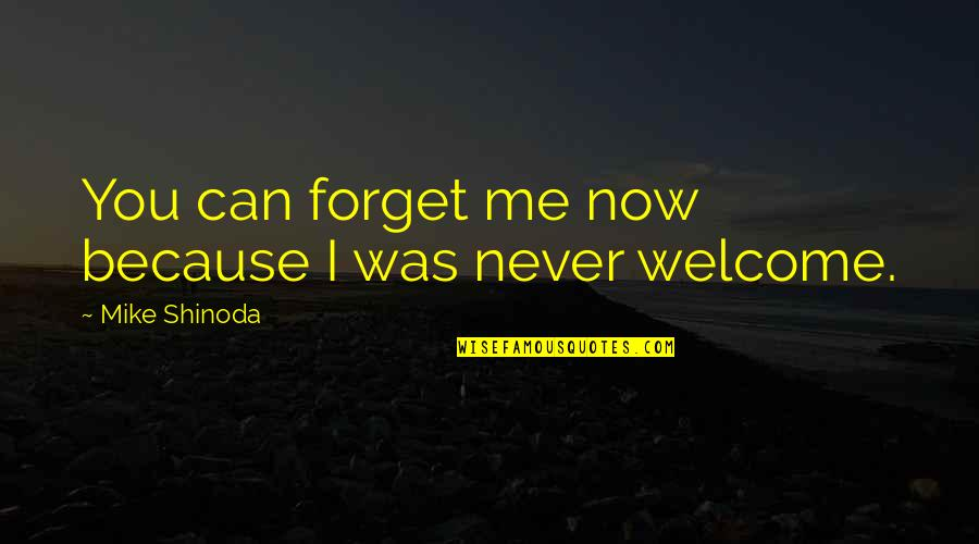 I Can't Forget You Quotes By Mike Shinoda: You can forget me now because I was