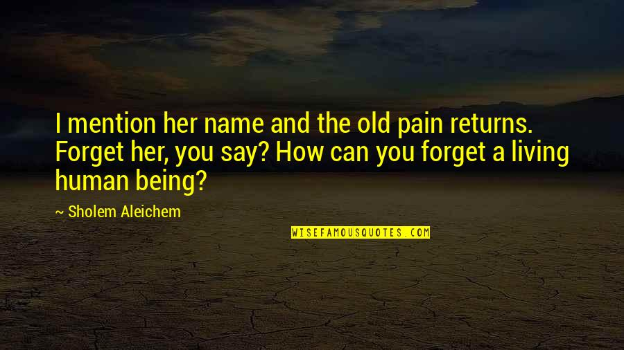 I Can't Forget You Quotes By Sholem Aleichem: I mention her name and the old pain