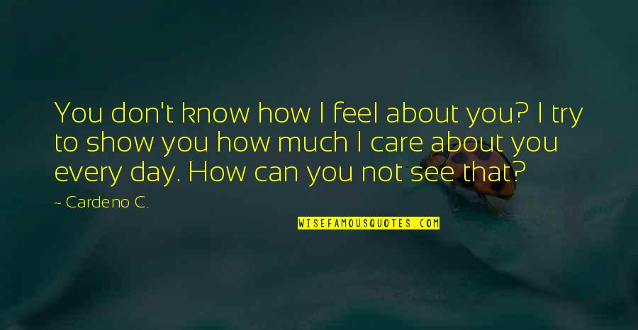I Can't Love You Quotes By Cardeno C.: You don't know how I feel about you?