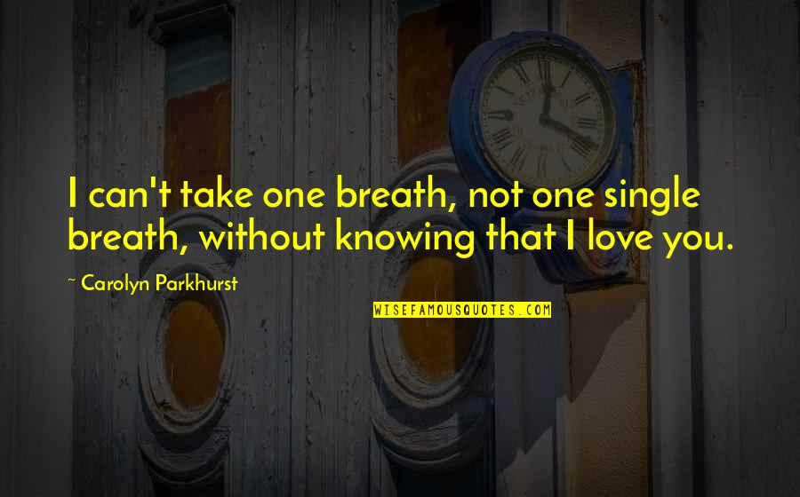 I Can't Love You Quotes By Carolyn Parkhurst: I can't take one breath, not one single