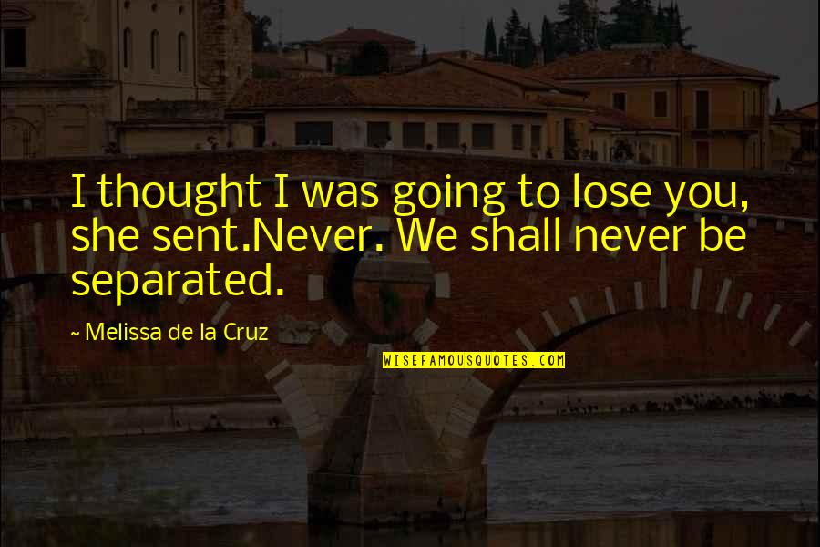 I Cut Myself Because Quotes By Melissa De La Cruz: I thought I was going to lose you,