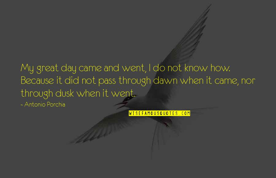 I Did Not Know Quotes By Antonio Porchia: My great day came and went, I do
